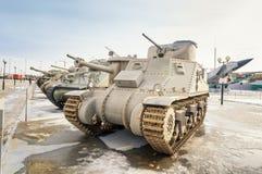 军事历史的博物馆的苏联武器展览, Verkhnyaya Pyshma,叶卡捷琳堡,俄罗斯, g 09 05 2016年 免版税库存图片