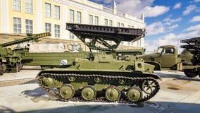 军事历史的博物馆,叶卡捷琳堡,俄罗斯, 31的苏联军用机器减速火箭的展览 03 2018年 图库摄影