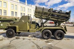 军事历史的博物馆,叶卡捷琳堡,俄罗斯, 31的苏联军用机器减速火箭的展览 03 2018年 免版税库存图片