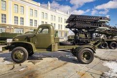 军事历史的博物馆,叶卡捷琳堡,俄罗斯, 31的苏联军用机器减速火箭的展览 03 2018年 库存照片