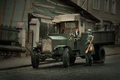 军事历史节日乔尔特基夫Athenziv在乔尔特基夫从战士6月15日到17日,有卡车的菲亚特2018位波兰 免版税库存图片