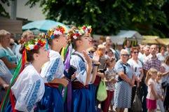 军事历史节日乔尔特基夫Athenziv在乔尔特基夫从2018年6月15日到17日 庆祝,演奏 免版税库存照片