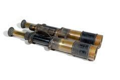 军事古色古香的双筒望远镜 库存照片