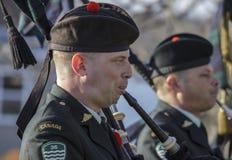 军事吹笛者 库存图片