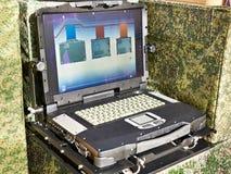 军事和工业的被保护的膝上型计算机 库存照片