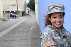军事女性微笑与拷贝空间 库存照片