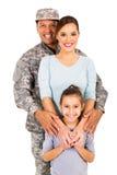 军事家庭画象 免版税库存照片