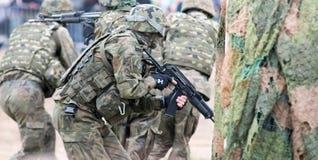 军事展示的战士 图库摄影
