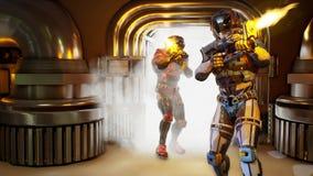军事战士宇航员入侵  剧烈的超级现实概念 3d翻译 皇族释放例证