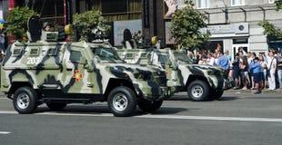 军事游行在乌克兰首都 免版税库存照片