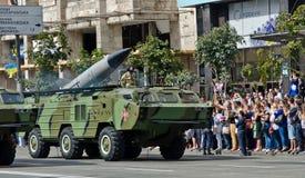 军事游行在乌克兰首都 库存图片