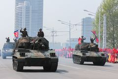 军事游行在北朝鲜 免版税库存图片