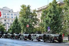 军事游行在华沙 免版税库存照片
