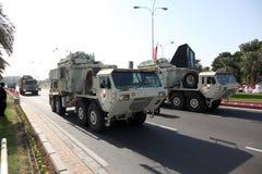 军事游行在多哈,卡塔尔 免版税库存照片