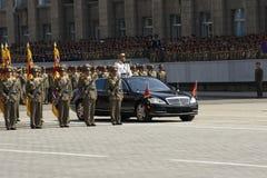 军事游行在平壤 免版税库存图片