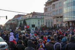 军事游行在罗马尼亚国庆节 免版税库存图片