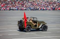 军事游行在胜利天的庆祝时 免版税库存照片