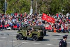 军事游行在胜利天的庆祝时 库存照片