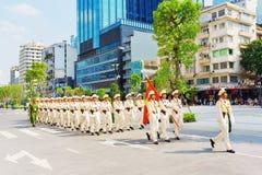 军事游行在胡志明市 免版税库存照片