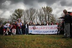 军事游行在贝尔格莱德 免版税库存图片