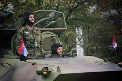 军事游行在贝尔格莱德 免版税库存照片