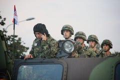 军事游行在贝尔格莱德 免版税图库摄影