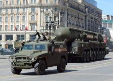 军事游行排练在莫斯科 库存图片