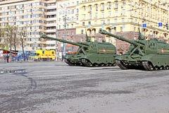 军事游行致力了在二战的胜利天在Mosc 免版税库存图片