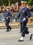 军事游行(污蔑)在法国国庆节期间,冠军Elysee大道仪式  图库摄影