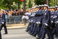 军事游行(污蔑)在法国国庆节期间,冠军Elysee大道仪式  库存照片