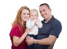 年轻军事父母和孩子白色的 图库摄影