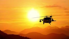 军事直升机飞行到日落3d动画使成环里