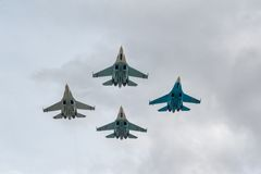 军事空气战斗机Su27 库存照片