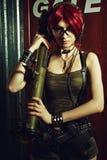 军事红头发人女孩 库存图片