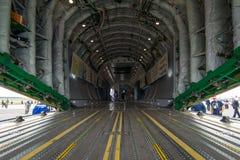 军事运输航空器安托诺夫An-178的货舱 免版税库存图片