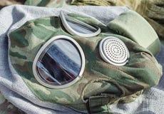 军事防毒面具特写镜头 免版税库存照片