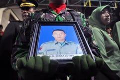 军事飞机失事在杀害135的印度尼西亚 免版税库存图片