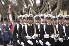 军事高海军老游行的船 免版税库存图片