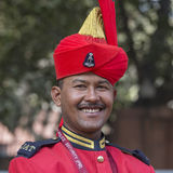军人画象在即将来临的印度共和国天游行的排练活动参与 德里新的印度 免版税库存图片