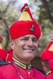 军人画象在即将来临的印度共和国天游行的排练活动参与 德里新的印度 免版税库存照片