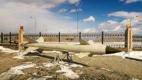 军史博物馆的作战苏联导弹展览,俄罗斯, Ekaterinburg, 31 03 2018年 免版税库存照片