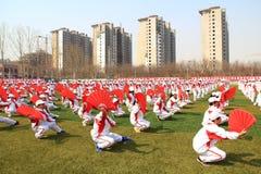 军团在操场的体操表现 图库摄影