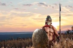 军服的坚强的斯巴达战士与盾和矛 免版税库存图片