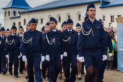 军校学生的军校学生誓言在俄罗斯的卡卢加州地区分类2016年9月10日的 图库摄影