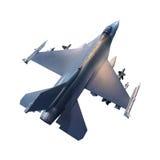 军用喷气式歼击机飞机顶视图  免版税库存照片
