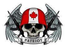 军用头骨或爱国者头骨有加拿大旗子盔甲的 向量例证
