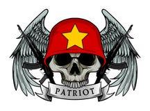 军用头骨或爱国者头骨有越南旗子盔甲的 向量例证