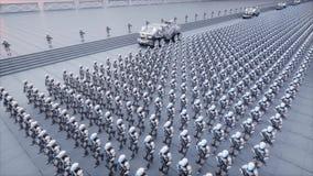 军用机器人入侵  剧烈的启示超级现实概念 远期 3d翻译 皇族释放例证