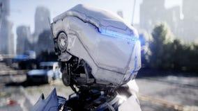 军用机器人在被毁坏的城市 未来启示概念 现实4K动画 向量例证