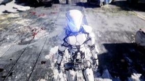 军用机器人在被毁坏的城市 未来启示概念 现实4K动画 库存例证